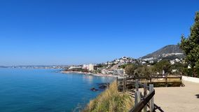 Benalmadena海滩全景看法安大路西亚西班牙欧洲 图库摄影