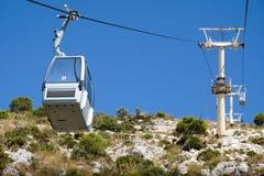 BENALMADENA ANDALUCIA/SPAIN - JULI 7: Kabelbil som monterar Calam royaltyfri fotografi