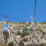 BENALMADENA ANDALUCIA/SPAIN - JULI 7: Kabelbil som monterar Calam royaltyfri foto
