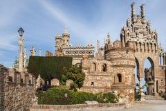 Benalmadena, a Andaluzia, Espanha - 4 de março de 2019: parte de Castillo de Colomares É um tipo de um castelo do conto de fadas, fotos de stock royalty free