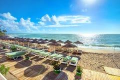 Benalmadena beach, Malaga province, Andalusia, Spain. Beach in Benalmadena. Costa del Sol, Andalusia, Spain Royalty Free Stock Photo