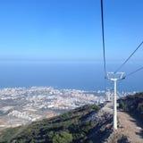 Benalmadena costa, Spain. Spain, Teleferico Benalmadena, Costa Del Sol, cable way, blue sky and sea, water Royalty Free Stock Photography
