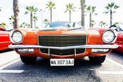 Benalmadena Hiszpania, Czerwiec, - 21, 2015: Frontowy widok klasyk 1972 Chevrolet Camaro Fotografia Royalty Free