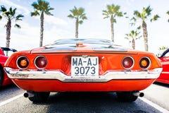 Benalmadena Hiszpania, Czerwiec, - 21, 2015: Tylny widok klasyk 1972 Chevrolet Camaro Obraz Stock