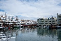 BENALMADENA, MALAGA, SPAIN. May 8, 2019. Port Marina with boats docked. And cloudy day stock image