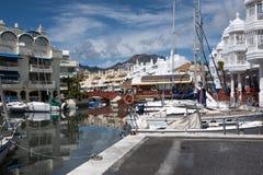 BENALMADENA, MALAGA, SPAIN. May 8, 2019. Port Marina with boats docked. And cloudy day stock photos