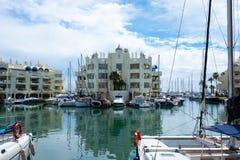 BENALMADENA, MALAGA, SPAIN. May 8, 2019. Port Marina with boats docked. And cloudy day royalty free stock photo