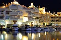 Benalmadena marina przy nocą Obrazy Royalty Free