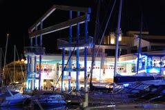 Benalmadena marina przy nocą Zdjęcie Royalty Free