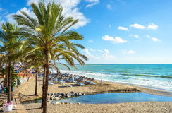 benalmadena plaża Malaga, Andalusia, Hiszpania Obraz Royalty Free