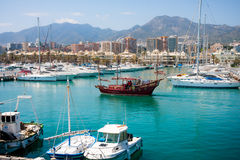 Benalmadena, retro cruise ship sailing Stock Images
