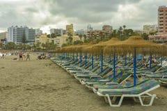 Benalmadena strand, Andalucia landskap, Spanien arkivbilder