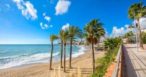 benalmadenastrand Malaga landskap, Andalusia, Spanien Arkivfoto
