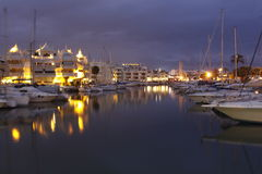 Benalmádena port at night Stock Images