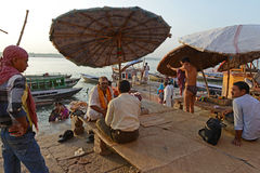 Benaras. Is considered as the cultural capital of the oldest and holiest cities in India and home to the most famous ghats (steps leading down to the river) in stock image