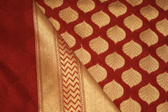 Benares Silk Bridal Saree 2. A traditional Benares bridal sari at Silkworm Boutique, Chennai, India Stock Photo