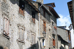 Benasque medieval village,Pyrenees mountains,Huesca,Aragon,Spain. Stone houses in Benasque medieval village,Pyrenees mountains,Huesca,Aragon,Spain Royalty Free Stock Images
