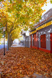 Benassal street in autumn Benasal in Maestrazgo Stock Photo