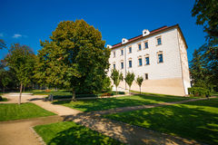 Benatky. Castle Benatky nad Jizerou with blue sky in Czech republic Stock Image