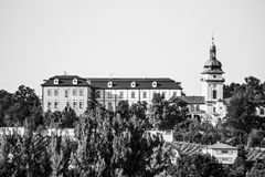 Benatky nad Jizerou Castle in Central Bohemia, Czech Republic. Black and white image stock photo