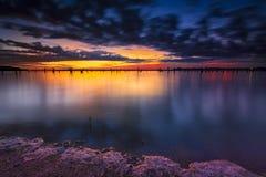 Benbrook jezioro przy świtem obrazy royalty free