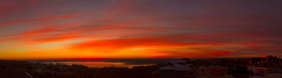 Benbrook Lake Dawn Panorama Royalty Free Stock Photos