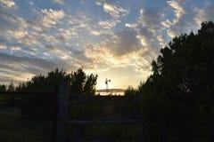 Benbrook Texas Windmill i inställningssolen Royaltyfria Foton