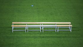 Benc  in a soccer stadium. Bench in a soccer stadium Royalty Free Stock Photos