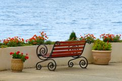 Bench. With view at seaside Royalty Free Stock Images