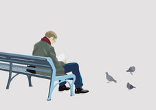 Bench. Vector illustration of man on a bench in a park Stock Photo