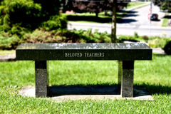 Bench. Marble bench depicted to all beloved teachers Stock Photography