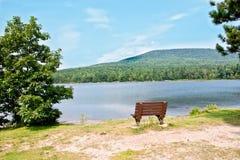 Bench. Lonely bench near North lake, Hunter, NY Stock Image