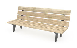Bench. Wooden park bench 3d, over white, isolated Royalty Free Stock Photos