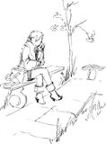 On a bench. The black-and-white image of the girl in park Vector Illustration