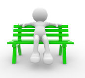 Bench. 3d people - man, person sitting on the bench Royalty Free Stock Photography