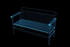 Bench 3D xray blue. Transparent Royalty Free Stock Photography
