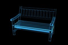 Bench 3D xray blue transparent. In black background Stock Images