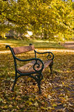 The bench. In the chateau park in Teplice Stock Photos