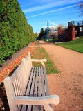 Bench. In Minneapolis Sculpture Garden Royalty Free Stock Photos