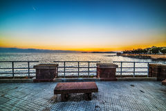 Bench in Alghero seafront Royalty Free Stock Photography