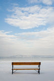 Bench alone in winter Stock Photography