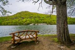 Bench along Hessian Lake, at Bear Mountain State Park, New York.  royalty free stock photo