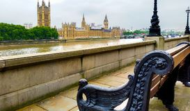 Bench Along the River Thames Stock Images