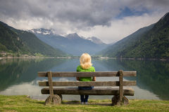 Bench in Alps Stock Photos