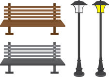 Free Bench And Light Posts Stock Image - 24883781