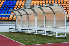 Bench for athletes Inside the stadium Royalty Free Stock Image