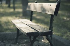 Bench in the autumn atmosphere stock photo