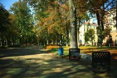 Bench in autumn city park Royalty Free Stock Photos