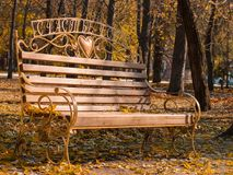 Bench in autumn park with fallen leaves Royalty Free Stock Images