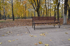 Bench in the autumn Park. Royalty Free Stock Photography